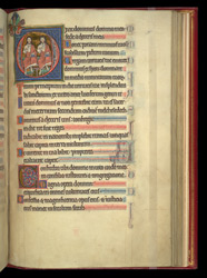 Historiated Initial With God The Father And God The Son, In A Psalter Preceded By Miniatures And A Calendar